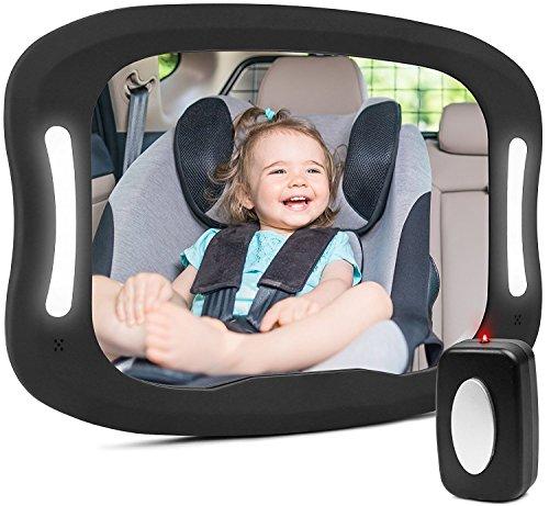 Bebé Coche Espejo,Espejo Retrovisor Coche Bebe Luz LED con Mando Distancia para Vigilar al Bebé en el Coche Los Asientos de Niños Orientados Hacia Atrás 100% Inastillable 360° Ajustable Bebé Espejo