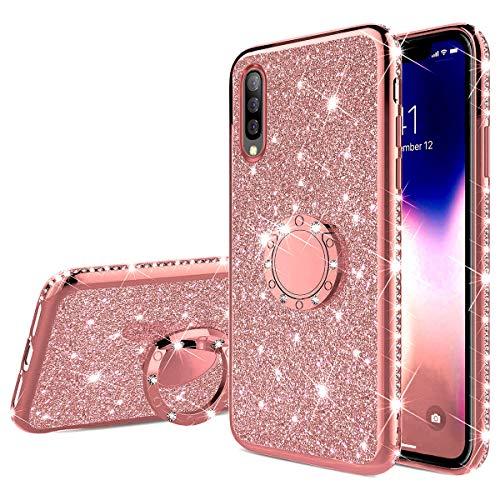 QPOLLY Kompatibel mit Samsung Galaxy A50S Hülle Glitzer Handyhülle Kristall Strass Diamant Überzug Silikon TPU mit 360 Grad Ring Ständer Schutzhülle Tasche Case per Galaxy A50S,Roségold