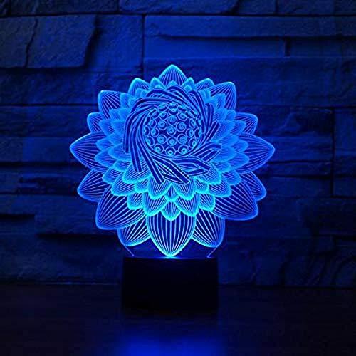 Lotus 3D Licht Deko Tischlampe 3D LED Nachtlicht Lotus 3D LED Licht Buddha Symbol Geschenk