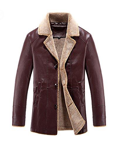 Yonglan Uomo Tendenza Cappotto Trench di Pelle Medio-Lungo Plus Cashmere Cappotto di Pelle Maniche Lunghe Giacca da Moto Rosso M