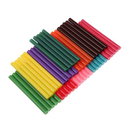 Mtsooning 50Pcs Heißklebesticks Heißklebestifte Farbige Glitzer Klebesticks Heißkleber Klebestifte Kunst Handwerk Heißleim Pistole Kleber Sticky Sticks, 7mm * 100mm