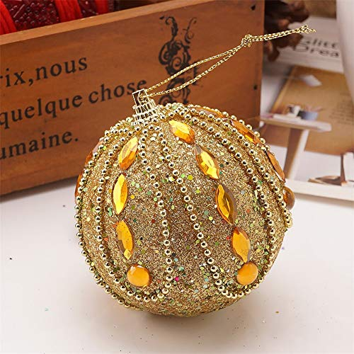 Christmas Decorations Balls Luxurious Mini Glitter Sequins Rhinestones Christmas Foam Ball Christmas Tree Ornaments Hanging Decoration Pendant Xmas Home Party Decor Supplies 8CM