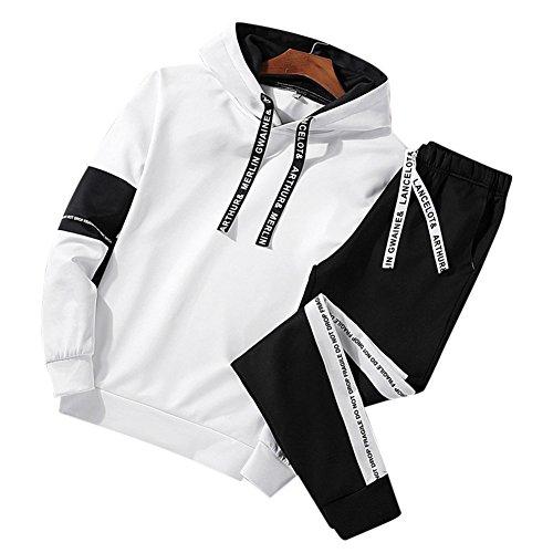 D&R Fashion Camisa Con Cuello Mao Acabado A Cuadros Parches De Codo De Gamuza Slim Hombre S Blanco
