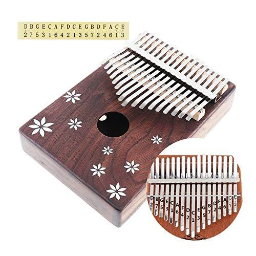 SADDPA 17 Key Mini Kalimba Akazienholz Daumenklavier mit Shell Inlay Sieben-Blatt Blume Natürlichen beweglichen Tasteninstrument (Color : A)