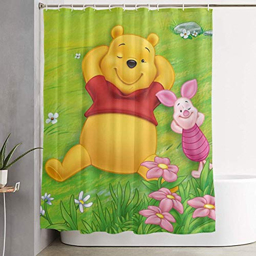 CDMT-XU1 Duschvorhang Winnie The Pooh Frühling Kunstdruck, Polyester Stoff Badezimmer Dekorationen Sammlung mit Haken 60X72 Zoll