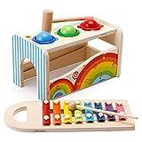 DODY Hape Pound e Tap Bench con xilofono Scorrevole, Giocattolo Musicale martellante in Legno. per Bambini Piccoli, Colori multifunzionali e Luminosi, Regali per Bambini