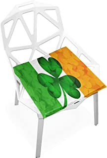 Lixhale Girls Chair Cushion Ireland Flag with Shamrock Clover Leaves Soft Non-Slip Memory Foam Chair Pads Cushions Seat for Home Kitchen Office Desk 16x16 Inch Dining Room Chair Cushions