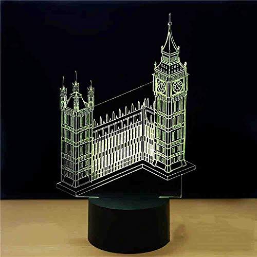 RJGOPL 7 kleuren 3D Visual Night Light Big Ben Tower Bouw modelering LED kinderen USB tafellamp slaapkamer nachtkastje touch knop deco licht