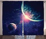 ABAKUHAUS Galaxia Cortinas, Los Planetas del Espacio Exterior Marte, Sala de Estar Dormitorio Cortinas Ventana Set de Dos Paños, 280 x 260 cm, Navy Azul Rosa