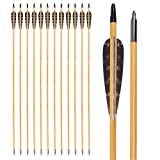 Wooden Arrows 30 Inch Hunting 4 Inch Turkey Feathers Fletching Practice Target Arrow for Traditional Recurve Bow Horsebow Longbow (Pack of 12)