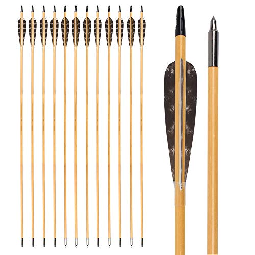 Wooden Arrows 32 Inch Hunting 4 Inch Turkey Feathers Fletching Practice...