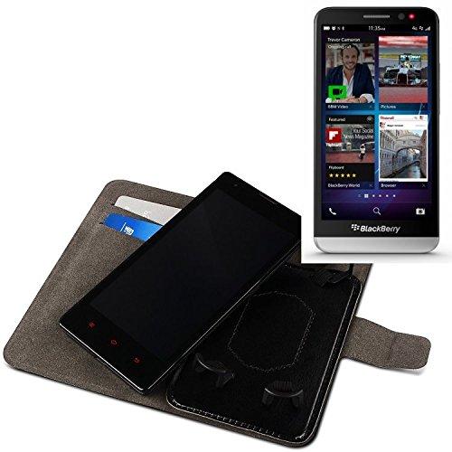 K-S-Trade® Für BlackBerry Z30 Schutz Hülle Case Walletcase Schwarz Handytasche Mit Kreditkartenfächern Und Standfunktion Bookstyle Klapphülle Etui Handy Case Schutzhülle Für BlackBerry Z30