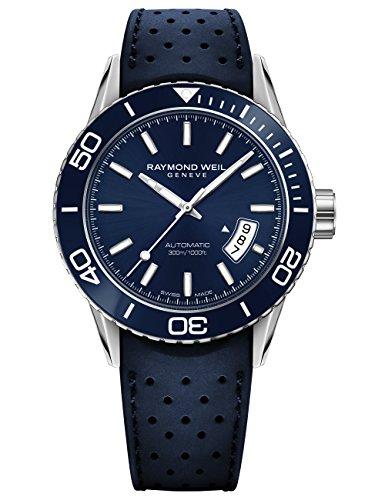 RAYMOND WEIL Herren analog Schweizer Automatik Uhr mit Gummi Armband 2760-SR3-50001