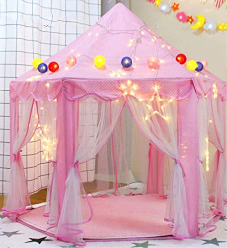 Pink Princess Castle Kids Play Tent, Children Playhouse, Great Birthday Gifts for 1-10 Years Old Kids Toys, Indoor and Outdoor Use, Pink (Colorful Ball and LED Lights Not Include) ¡
