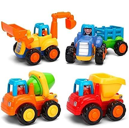 Moontoy Vehículos de Construcción Coche de Juguete Coche de Friccion Camion de Juguete Coche de Juguete de Plástico Regalo de los Niños(Tractor, Niveladora, Camión del Mezclador, Camiones)