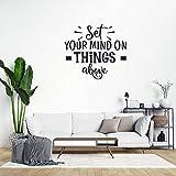 Pegatinas decorativas de PVC extraíbles con texto en inglés 'Set Your Mind on Things Above Wall', para sala de estar, dormitorio, hogar