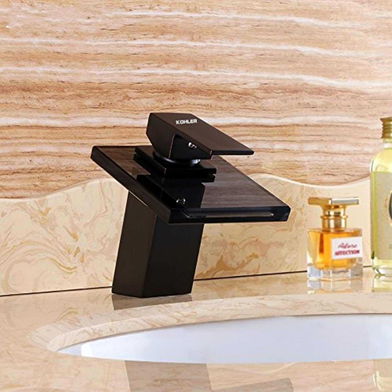 Waschtischarmatur Wasserhahn Mit Herausziehbarer Dual-Spülbrause Wasserhahn Neues Paket Kupferglas Orb Schwarz Bronze Schwarz Glas Wasserfall Heien Und Kalten Waschbecken Wasserhahn Aufgeführt