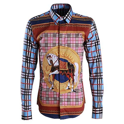 HOSD Nueva Camisa a Cuadros clásica de Caballo a Cuadros de, Camisa Masculina con Estampado Digital para Hombre