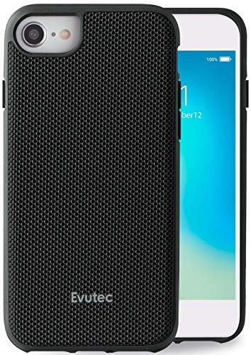 Evutec Compatible with iPhone 6/6s/7/8/SE(2020) Unique Heavy Duty Case Ballistic Nylon Premium Protective Military Grade Drop Tested Shockproof Phone Case with AFIX+ Vent Mount-Black