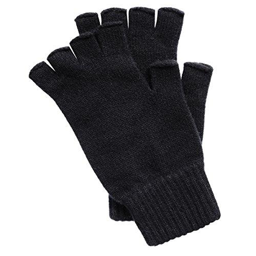 Men's Fingerless Cashmere Gloves made in Scotland (Black)