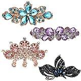 Vathery Cristal Fleur Pince à cheveux Papillon Métal Barrettes Strass Epingle à Cheveux pour Femme Fille, 4 Pack