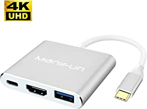 Manifun USB C to HDMI Adapter, Type C to HDMI Adapter Thunderbolt 3 to HDMI 4K, USB 3.0, USB C Charging Port Compatible MacBook Pro, MacBook, Samsung Galaxy S8/S9/S10/Note 8/Note 9/Note 10