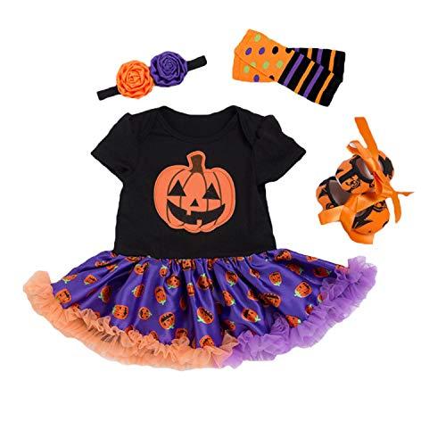 BabyPreg Disfraz Bebe Halloween Vestido Tutu Bebe Niñas 4Pieza (M / 6