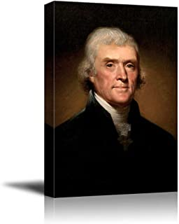 wall26 - Official Presidential Portrait of Thomas Jefferson by Rembrandt Peale - Canvas Print Wall Art Famous Painting Reproduction - 12
