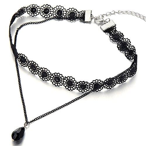 COOLSTEELANDBEYOND Negro Encaje Cadena Tatuaje Collar de Gargantilla Choker Collar de Mujer, Lágrima Perla Negro Charm Colgante