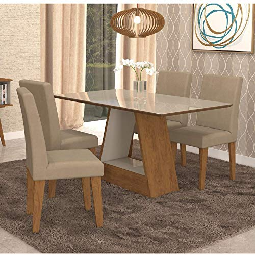 Conjunto Sala de Jantar Mesa Tampo de Vidro Retangular Alana 4 Cadeiras Milena Cimol Savana/off White/sued Marfim