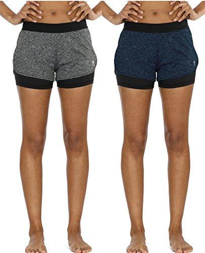 icyzone 2 in 1 Pantaloncini Sportivi da Donna per Correre Calzoncini Fitness Yoga Pantaloncini(Pacco da 2) (S, Charcoal/Royal Blue)