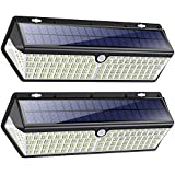 418 LED Luz Solar Exterior【3500LM 4400mAh Súper Brillante Lámparas Solares con Carga USB】Foco Solar Exterior con Sensor de Movimiento 270º Iluminación 3 Modos IP65 Luz led Solar para Jardín 2 Paquete