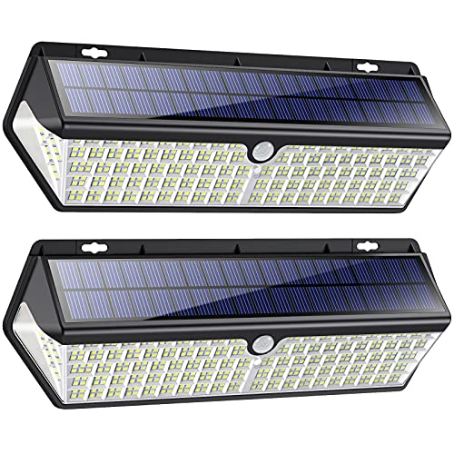418 LED Luz Solar Exterior【3500LM 4400mAh Súper Brillante Lámparas Solares con Carga USB】Foco Solar Exterior con Sensor de Movimiento 270º Iluminación 3 Modos IP65 Luz led Solar para Jardín 2