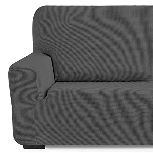Eiffel Textile Monaco Elastica Adaptable. Funda Sofa Lisa, 94% poliéster 6% Elastano, Gris, 1 Plaza (70-110 cm)