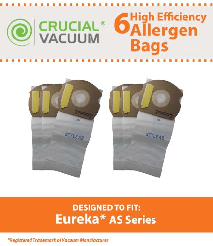 Crucial Vacuum Replacement Vacuum Bags Compatible with Part # 66655,67726,68155,68155-6,84404 & Eureka Models AS, Airspeed, AS1050,AS1150A Upright Vacuums Bag for Home - Bulk (6 Pack)
