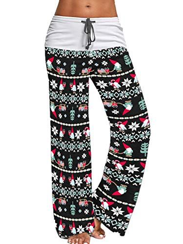 iChunhua Women's Comfy Stretch Floral Print Drawstring Palazzo Sports Yoga Pants Merry Christmas(Xmas Black,Large)