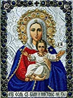 5D DIYダイヤモンド絵画宗教的信念、十字架、イエス、聖母、子供ダイヤモンド絵画キット大人のためのダイヤモンドアートキットDIYホームウォールクラフト(30x40cmラウンドダイヤモンド)