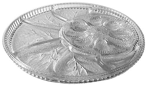 Indiana Glass Pebble Leaf Clear Glass ( 5-Part Relish Dish / 8-Deviled Egg Plate )