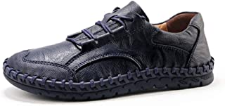 QinMei Zhou Driving Loafer for Men Boat Moccasins Lace Up Style PU Leather Individual Stitching Toe Lightweight (Color : Blue, Size : 5.5 UK)