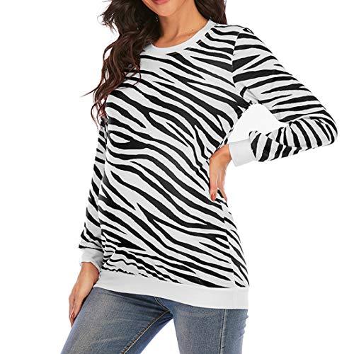 Tops de Manga Larga para Mujer Camiseta Suelta torcida Blusas Tops de túnica Camiseta de béisbol Blusa con Cuello Redondo Blusa con Estampado de Rayas con Cuello Redondo Camiseta de Maternidad