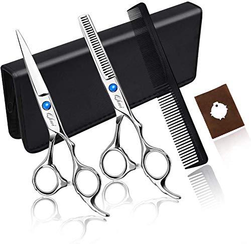 Telgoner Haarschere Set, 2 Extra Scharfe Haarschneideschere mit Etui, Licht Friseurscheren mit Einseitiger Mikroverzahnung, Perfekter Effilierschere für Damen und Herren