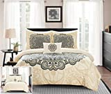 Chic Home Mindy 4 Piece Reversible Duvet Cover Set Large Scale Boho Inspired Medallion Paisley Print Design Bedding - Decorative Pillow Shams Included, Queen, Beige