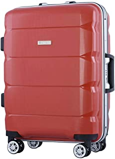 XLHJFDI Practical Trolley Case, PP Travel Rolling Trolley Case - Universal Wheel Scratch-Resistant Suitcase,with TSA Lock,20 Inch / 24 Inches,Red,Green,Black (Color : Red, Size : 24 inches)