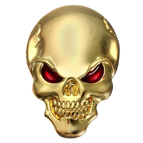 PeroFors Banggood 3D Demonio Cráneo Metal Pegatinas Hueso Emblema Insignia Calcomanías para Coche Motor Truck-Oro