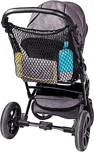 Diago Universal Einkaufsnetz XL für Kinderwagen, Buggy, Sportwagen, Jogger und Zwillingswagen/einfacher Klickverschluss/extra großes Kinderwagennetz - Schwarz