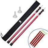 SaphiRose Adjustable Tarp Poles Set of 2 for Tents,Camping,Shelters,Hiking,Awnings(Red Updated Aluminum Poles)