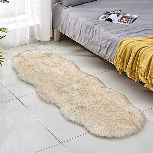 Faux Fur Area Rug, Langer Plüsch Flauschiger Teppich, Zottelteppiche, Rutschfeste Faux Schaffell Teppiche Unregelmäßiger Bodenteppich für Schlafzimmer Wohnzimmer Sofa Boden Kinderzimmer Dekor