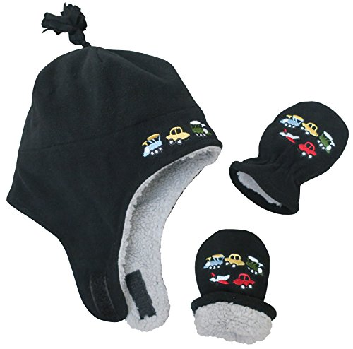 Product Image of the N'Ice Caps Little Boys and Baby Sherpa Lined Micro Fleece Pilot Hat Mitten Set...
