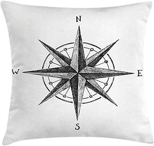 Compass Throw Pillow Funda de cojín, Seamanship Hand Drawn Windrose con Instrucciones Completas North South West, Funda de Almohada Decorativa Cuadrada Decorativa, 45X45cm, Charcoal White