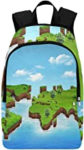HUAPIN World Map Grass Field Casual Daypack Travel Bag College School Backpack for Mens and Women
